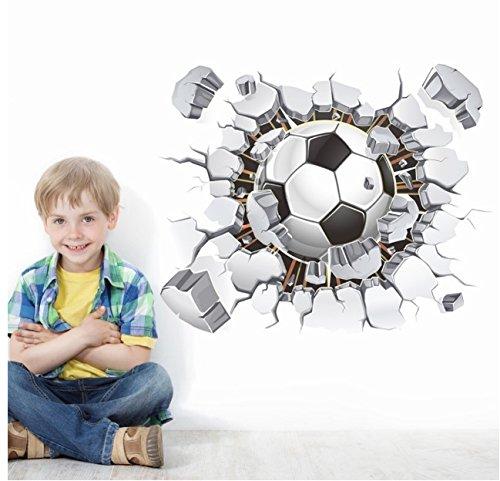 Fußball-Aufkleber, 3D Fußball-Wand-Aufkleber Fußball, der durch Wand-Vinylwand-Abziehbildaufkleber PVC-resuable Wand-Abziehbild-Abziehbilder für Fußballfangeschenk durchbricht (Fussball-fenster-abziehbild -)