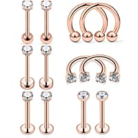 ‏‪Hoeudjo 12 Pieces 16G 18G Tragus Earrings Studs Surgical Steel Cartilage Earring Barbell CZ Inlaid Helix Horseshoe Ring Piercing Jewelry for Women Men‬‏