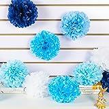 SUNBEAUTY Paquete 10 piezas 20cm pompones de papel para decoración de boda y adorno de casa (Estilo 2 Azul)