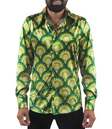 Hemd Dackelohrkragen grün gelb L ()