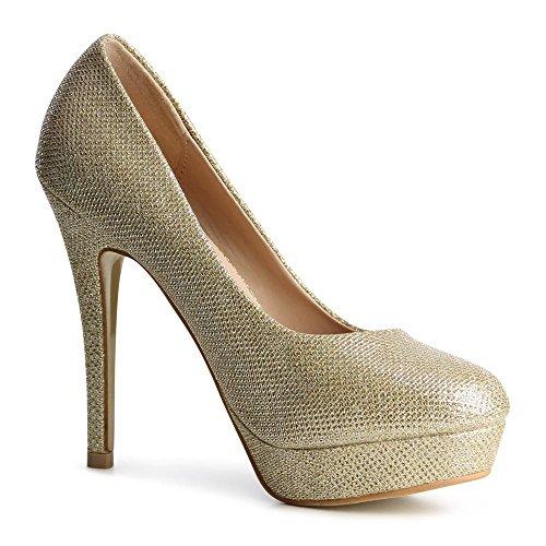 topschuhe24, Scarpe col tacco donna Oro
