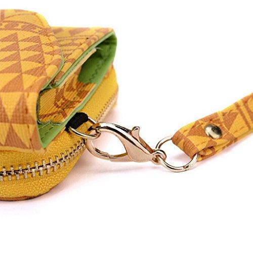 Kroo Tribal Style urbain pour téléphone portable Walllet embrayage pour Prestigio MultiPhone 5450Duo multicolore vert jaune
