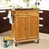 SoBuy® Luxus-Küchenwagen aus hochwertigem Bambus mit Edelstahltop, Küchenschrank, Kücheninsel B66xT46XH90cm FKW13-N - 2