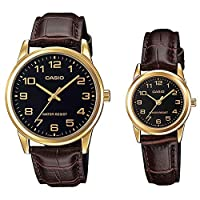 Casio His & Hers Black Dial Leather Band Couple Watch - MTP/LTP-V001GL-1BUDF