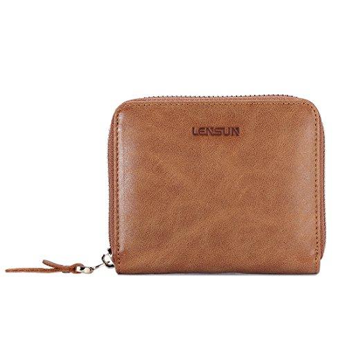Portemonnaie Damen, Lensun Leder Portmonee Damen Klein geldbörse geldbeutel mit Reißverschluss um Münze Brieftasche für Frauen (Mit Reißverschluss Brieftasche)