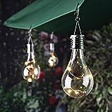 4 pezzi solare fata lampadina luci impermeabile filo di rame trasparente appeso lanterna di vetro rotante per il campeggio giardino esterno (bianco caldo)