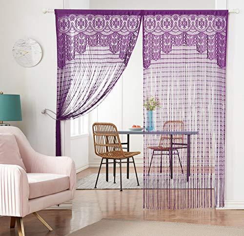 Taiyuhomes Spitze String Tür Net Vorhang als Insekten Bug Fliegengitter, Polyester, violett, 90x200 cm (Vorhang Spitze Tür)