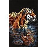 Tamaño juego de punto de cruz, diseño de tigre con enfriar botellas
