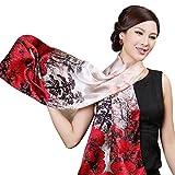 PB-SOAR Eleganter 100% Seide Damenschal Seidenschal Stola, Schal aus reiner Seide, schlicht und leicht, 20 Muster auswählbar (Muster 3)