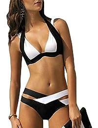 Mujer Push-up Acolchado Bra Bikini Trajes de Baño Negro Tops y Braguitas