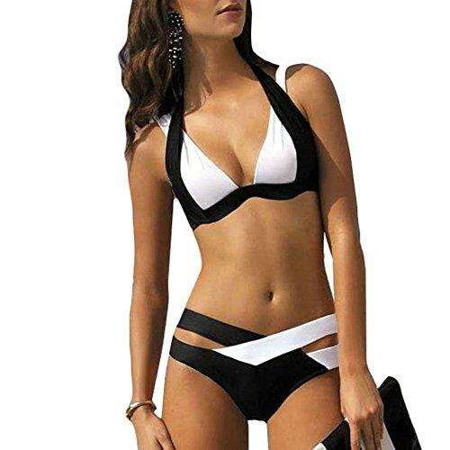 Mujer Push-up Acolchado Bra Bikini Trajes de Baño Negro Tops y Braguitas (L, Negro y Blanco)