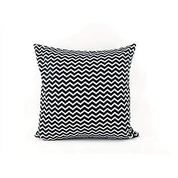 Kissenbezug 40x40cm Schwarz Weiß Zickzack Gemustert, Geometrich aus 100% Baumwolle