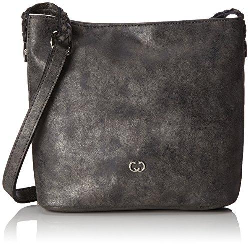 Gerry Weber Damen Woven Hands Shoulderbag Mvz Umhängetasche, Grau (Dark Grey), 8x24x25 cm (Hand-woven-handtasche)