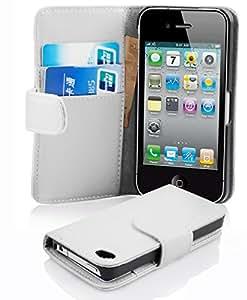Apple iPhone 4 / 4S / 4G Hülle in WEIß von Cadorabo - Handy-Hülle mit Karten-Fach und Standfunktion für iPhone 4 / 4S / 4G Case Cover Schutz-hülle Etui Tasche Book Klapp Style in POLAR-WEIß
