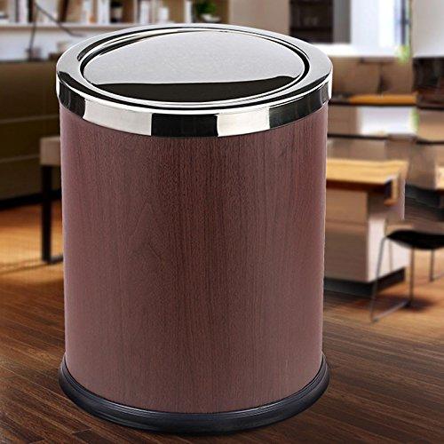 Ashcan FORWIN UK- Frischer kreativer Doppelter Abfall-Haus-Großer Deckel drückte Kreative Trommel-Ausgangsküche (Farbe : Nussbaum)