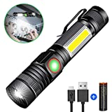 LED Torch Rechargeable, Magnetic USB Zoom Torches Light, Hoxida Super Bright COB Work