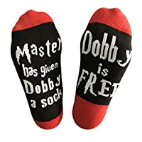 Novelty Socks Unisex Cotton Socks Master Has Given Dobby a Sock Dobby is Free Socks Funny Gifts for Men/Women/Girls/Boys/Mom Stocking Stuffers for Christmas,Birthday (Red Crew Socks)
