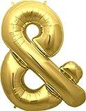 Simplydeko Buchstabenballon | Folienballon | Buchstaben-Luftballon (&, Gold, 41cm)