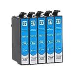 5 Druckerpatronen kompatibel zu Epson 27-XL, T2702, T2712 (Cyan) passend für Epson WorkForce WF-3600 WF-3620DWF WF-3620WF WF-3640DTWF WF-7110DTW WF-7600 WF-7610DWF WF-7620DTWF