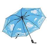 REAYOU Regenschirm Sky Stern Schirm Taschenschirm,klein, leicht & kompakt Manuelles Falten kompakt Vinyl Sonnenschirm UV-Schutz winddicht Regenschirm