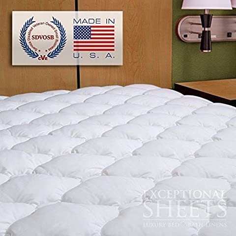 Waterproof Extra Plush Quilted Fitted Mattress Topper Mattress Pad -- Revoloft™ Filled, UK Single: 90 x 190 cm - Made in
