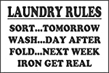 Etiqueta - Seguridad - Advertencia - Reglas de lavandería gracioso etiqueta de la casa signo SORT WASH FOLD IRON lavado, ropa REGALO - 20x15cm- oficina, empresa, escuela, hotel