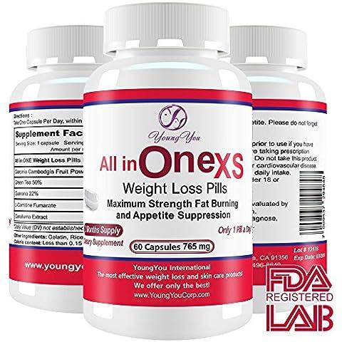 All in One Weight Loss Pills. Prescription Grade Supplement. Appetite Suppressant, Fat Burner, Fat Blocker for Rapid Weight Loss. 60 ct. Diet Pills.