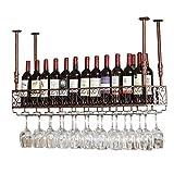 DUDDP Porte-bouteille de Vin Casier à vin Rétro mur de montage en fer forgé Casier à vin créative Bar suspendu Comptoir Porte-gobelet Décoration Porte-verre à vin À l'envers Bases de verres à vin Étag