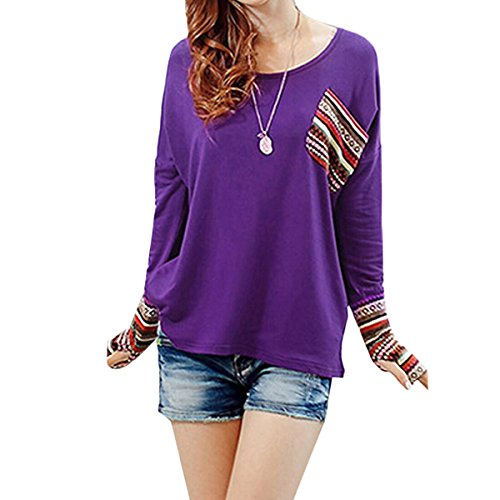 Femmes Casual Lâche Chemise Chauve-Souris Manches Longues T-shirt Top Blouse Pull Shirt Poche Violet