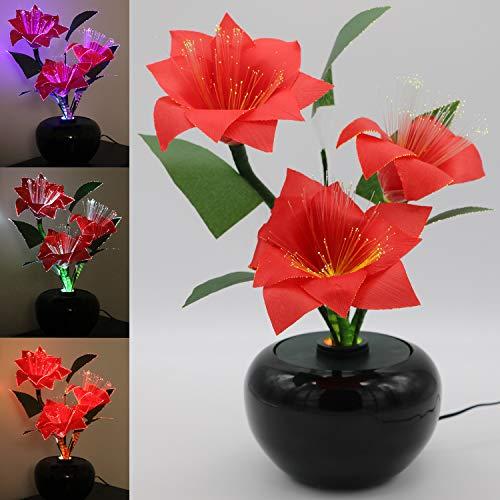 Tronje LED-Kunstblume Rot oder Weiß H:40cm Weihnachtsstern Christstern 3 Blüten künstliche Blume Farbwechsel