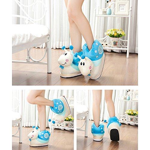 Eastlion Schnecken Form Eltern Kind Winter Warm Hausschuhe Home Indoor Schuhe Blau (Kindergröße)
