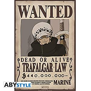 ABYstyle Abysse Corp_ABYDCO309 - Póster con Texto Wanted Trafalgar Law (52 x 35)