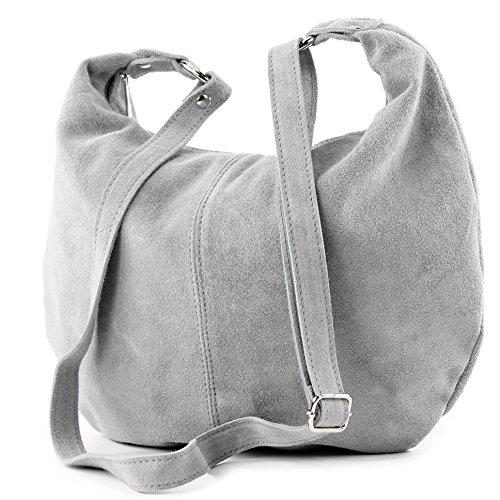 Borsa a mano borsa a tracolla shopping bag donna in vera pelle italiana T02 Grau
