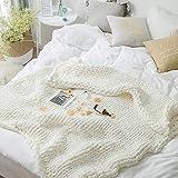 ANLW Kuscheldecke Strickdecke Dick Gewinde Decke Teppich Decor Handgefertigt Riese Klobig Sticken Werfen Sofa Sperrig Zuhause Geschenk,White,130 * 160