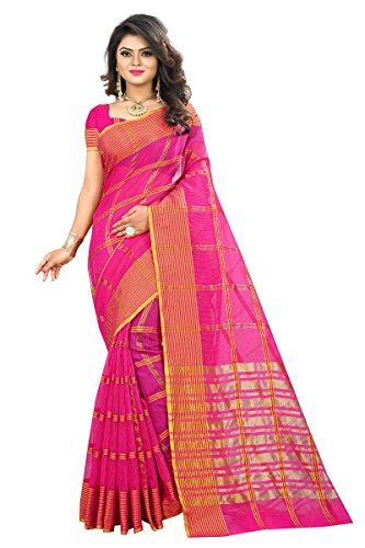 J B Fashion Women's Cotton Jaqard Pink color Saree for women With...
