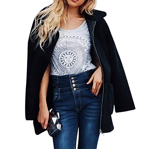 TianWlio Damen Mäntel Frauen Warmer Künstlicher Wollmantel Reißverschluss Jacke Winter Parka Oberbekleidung