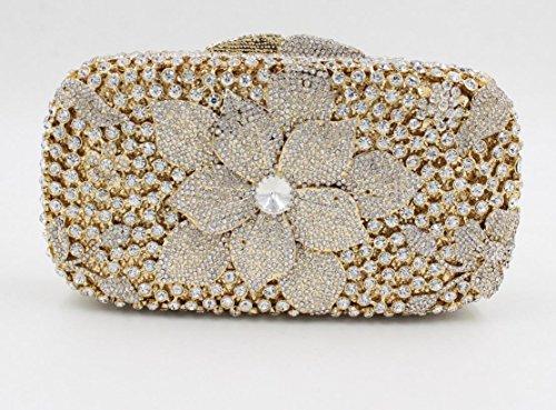 Damen Abendtasche Diamant-Inlay Diamant-Mappe Hand Bankett Tasche Kristall bohren voll color 7