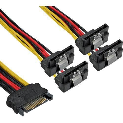 3 Stück SATA Strom-Y-Kabel - SATA Buchse an 4x SATA Stecker gewinkelt - mit Sicherheitslaschen - 0,15m