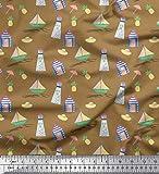Best Nautica Quilts - Soimoi Marrone Crepe Ray Tessuto Ananas, Faro e Review