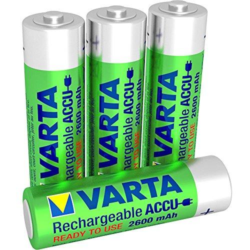 - 51mhtpR 2BxML - Varta Rechargeable Accu Ready2Use vorgeladener AA Mignon Ni-Mh Akku (4-er Pack. 2100 mAh), wiederaufladbar ohne Memory-Effekt – sofort einsatzbereit
