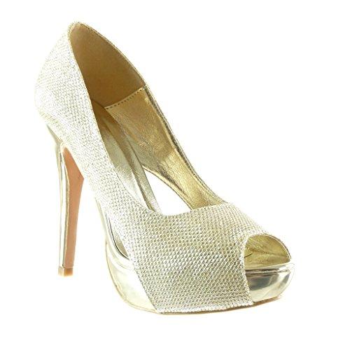 Angkorly - damen Schuhe Pumpe - Peep-Toe - Stiletto Stiletto Stiletto - Abend - glänzende Stiletto high heel 12.5 CM Gold 678ac0