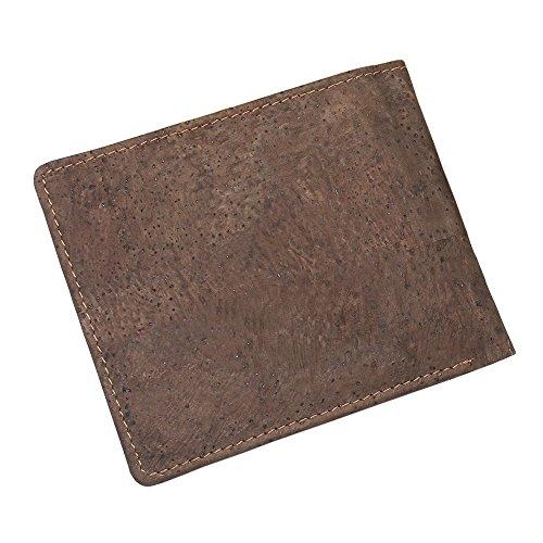 Vegane Geldbörse von boshiho RFID-Kork schmale Geldbörse mit Münzfach Vegan Geldbörse Umweltfreundlich Geschenk für Herren und Damen, Braun - dunkelbraun - Größe: One Size - 5
