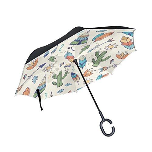 MAILIM Boho - Paraguas Reversible con patrón de atrapasueños, Doble Capa, Mango en C para Coche y Exterior