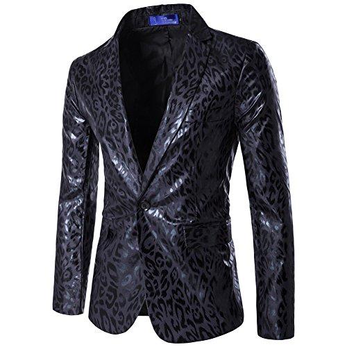 Uomo slim fit blazer stampato leopardato cappotto elegante vestito giacca nero s