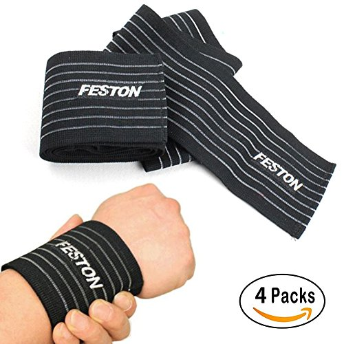 HW Wrist, Ankle or Knee and Elbow Protection Support Straps Guard Wraps Sport Band for Men, Women - Strength Training, Weight Lifting, and Power Lifting Stretchy Band