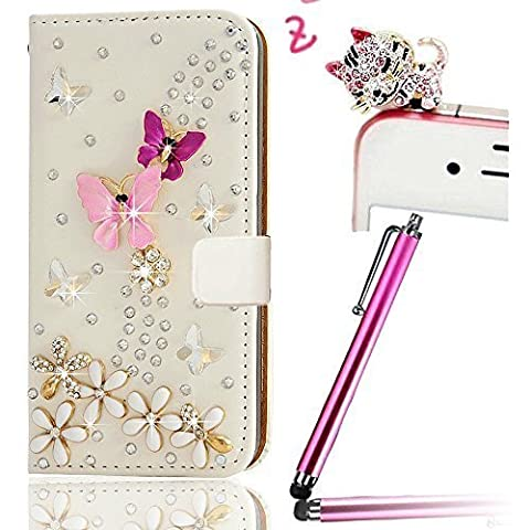 Vandot 3 in1 Set HUAWEI P8 Lite schwarz pink flip Ständer Wallet Schutzhülle aus Kunstleder Magnetverschluss 3D Cute Gold Butterfly Flower Diamond Premium findet Design Bezug + Girl Anti Staub Stecker + Stylus Pen
