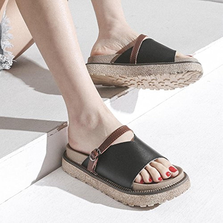 QQWWEERRTT Zapatos de Plataforma de Cuero de Moda Zapatillas de Mujer Verano Nuevo Universal Fashion Flat Wear...