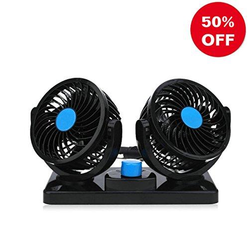 Auto Kfz Lüfter Ventilator mit 2 Geschwindigkeiten und 360-Grad-Drehung Einstellbare Leistungsstarke Gebläse Luftfilter mit 2 Geschwindigkeiten geeignet 12V/15W Auto Klimaanlage Fan