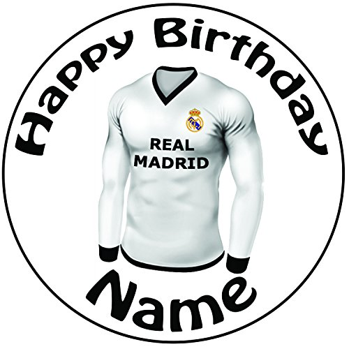 Décoration pour gâteau personnalisée Motif Maillot de football Real Madrid–Un rond prédécoupé de 20cm