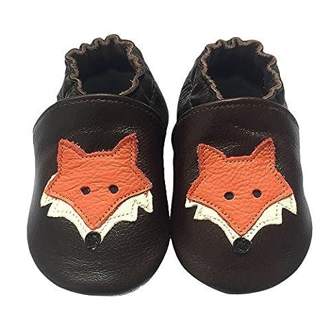 Freefisher Lauflernschuhe, Krabbelschuhe, Babyschuhe - in vielen Designs, Orange Fuchs auf Braun, 0-6 Monate